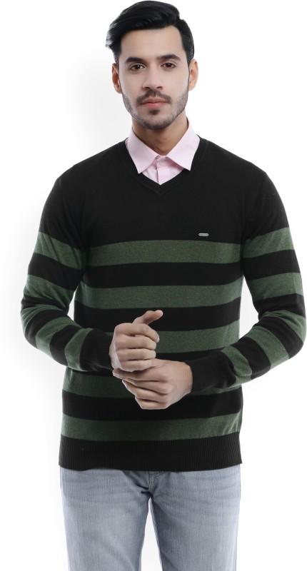 Numero Uno Striped V-neck Casual Mens Black, Green Sweater