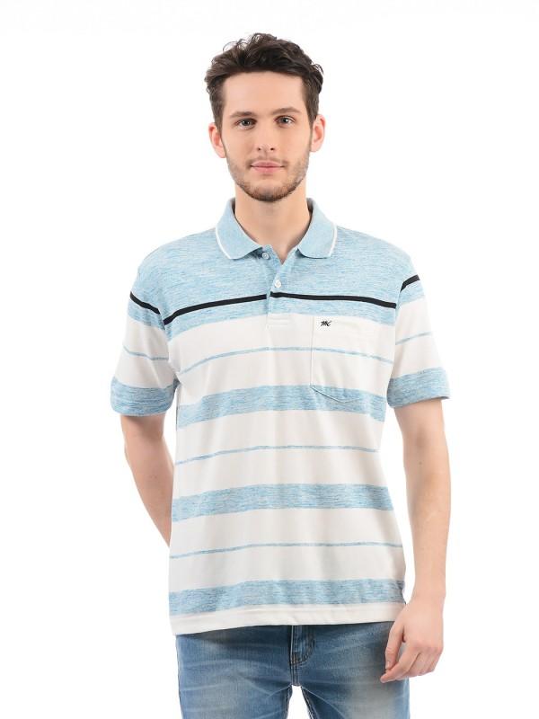 Monte Carlo Striped Men Polo Neck Blue T-Shirt