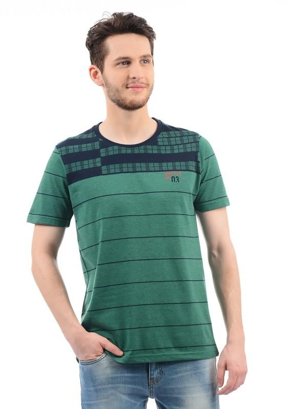 Monte Carlo Striped Men Round Neck Green T-Shirt