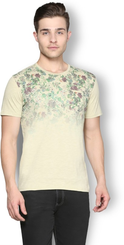 Van Heusen Printed Men Round Neck Beige T-Shirt