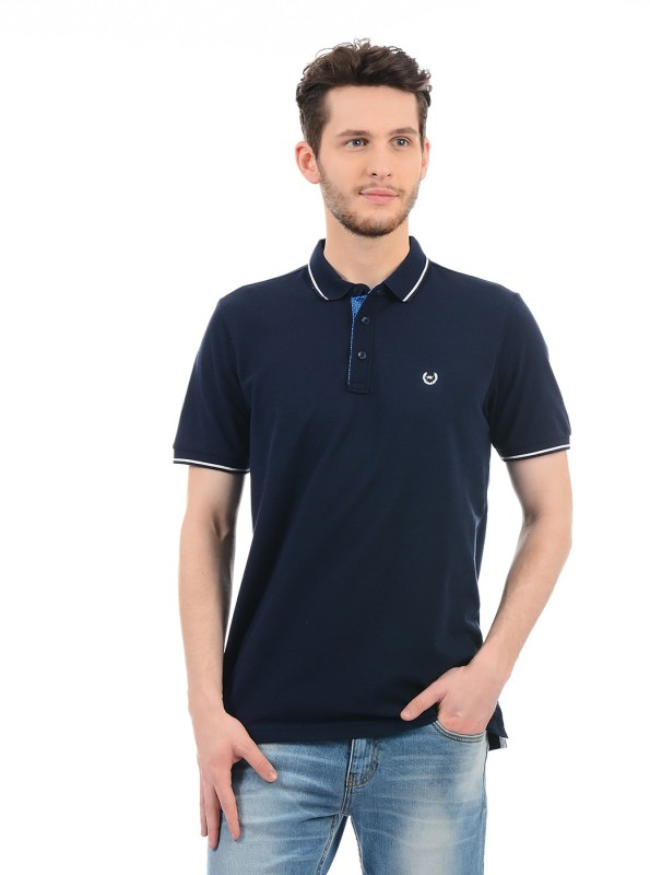 Monte Carlo Solid Men Polo Neck Dark Blue T-Shirt
