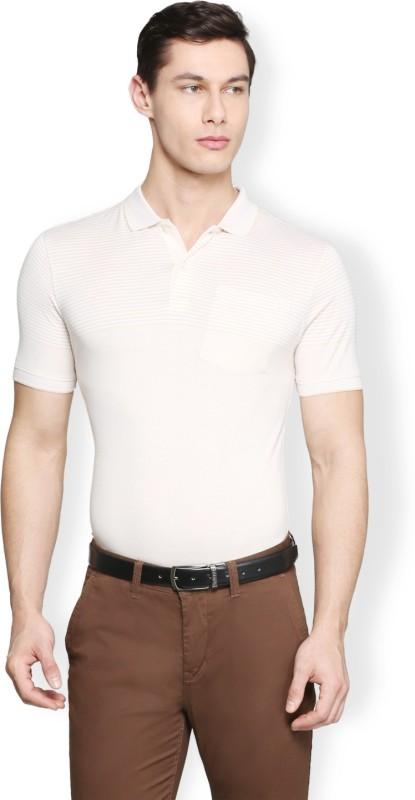 Van Heusen Striped Men Polo Neck White T-Shirt
