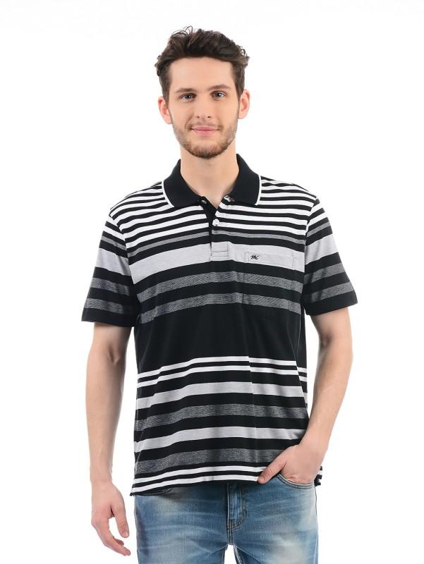 Monte Carlo Striped Men Polo Neck Black T-Shirt