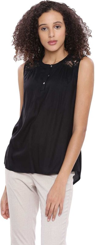Arrow Casual Sleeveless Solid Women Black Top