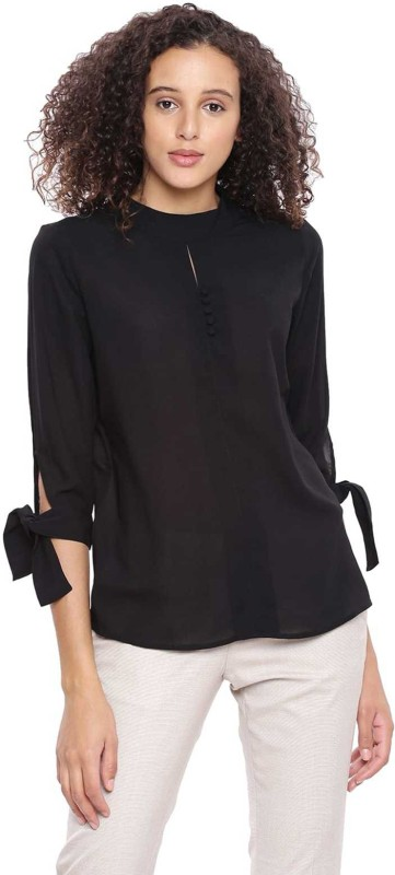 Arrow Casual 3/4th Sleeve Solid Womens Black Top