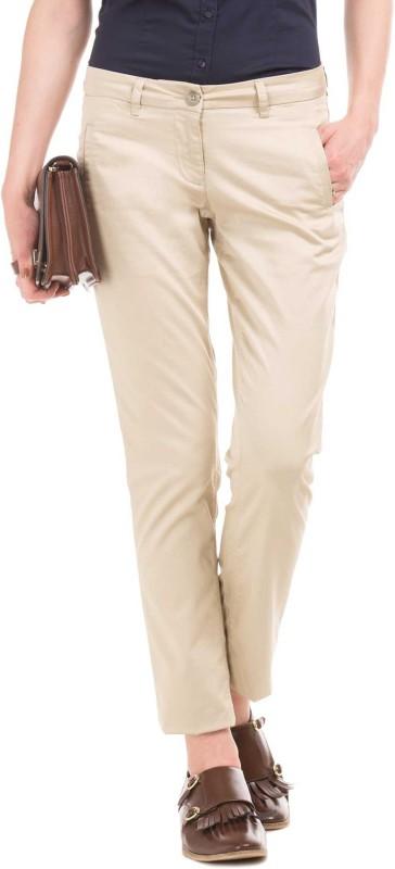 Arrow Regular Fit Women Beige Trousers