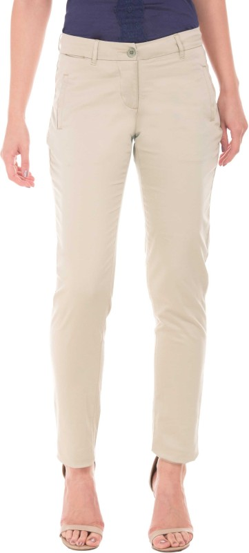 Arrow Regular Fit Women Beige Trousers