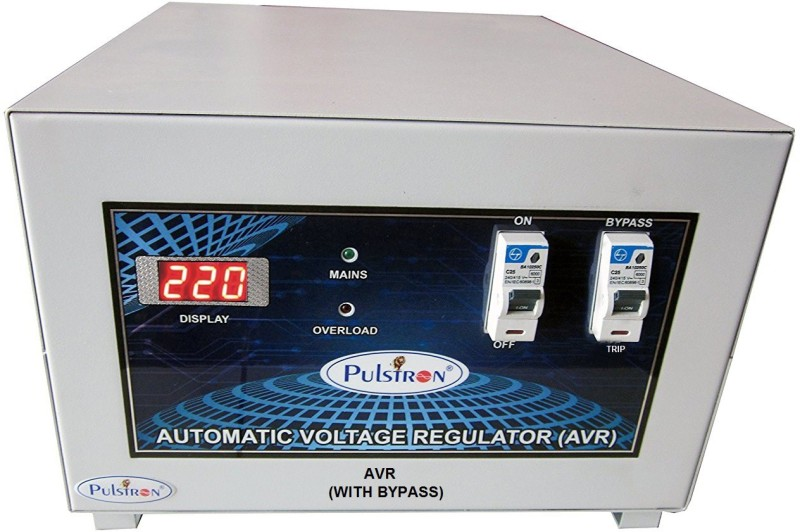 PULSTRON PTI-6095B Pulstron 6 KVA Single Phase With Bypass Automatic Voltage Stabilizer(Light Grey)