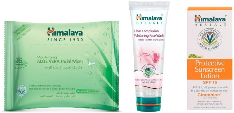 Himalaya Aloe Vera Facial Wipes, Clear Complexion Whitening Face Wash, Protective Suncreen Lotion(Set of 3)