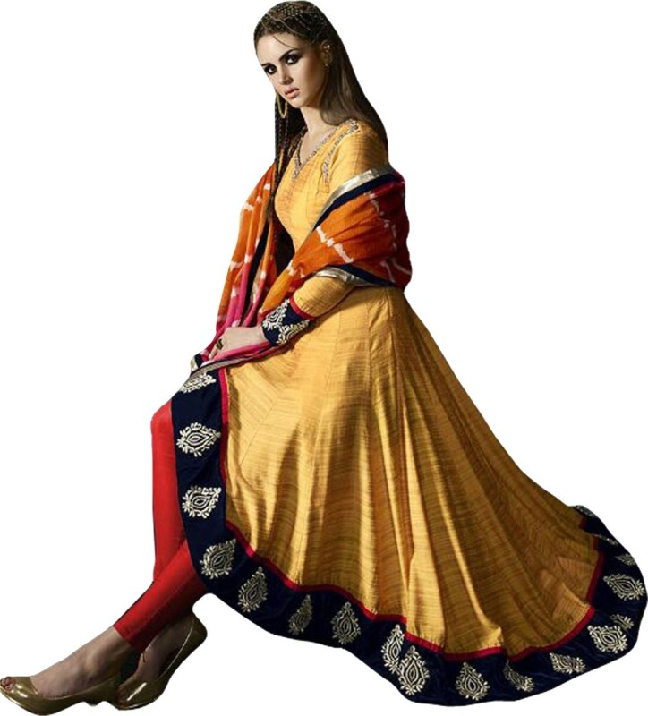 Ethnic Empire Silk Embroidered Semi-stitched Salwar Suit Material