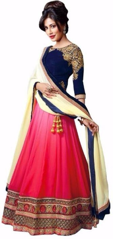 Florence Embroidered, Embellished Semi Stitched Lehenga Choli(Pink, Blue)