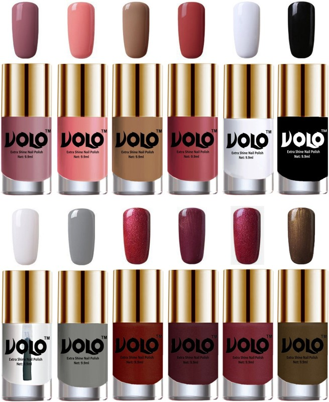 Volo Luxury Super Shine Nail Polish Set of 12 Vibrant Shades Matte White, Dark Nude, Black, Lava Lust, Shimmer Coffee, Tan, Extra Shine Top Coat, Gold, Metallic Coffee, Nudes Spring, Candy Cotton, Grey, Metallic Red(Pack of 12)