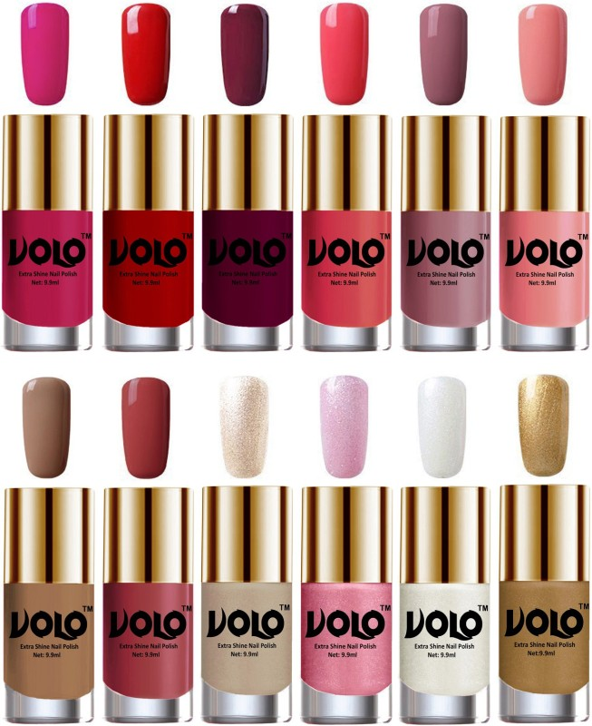 Volo Luxury Super Shine Nail Polish Set of 12 Vibrant Shades Light Wine, Pearly White Chrome, Golden, Tan, Red, Dark Nude, Metallic Pink, Nudes Spring, Candy Cotton, Passion Pink, Chrome Rust, Light Pink(Pack of 12)
