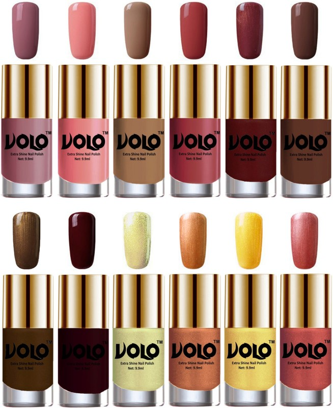 Volo Luxury Super Shine Nail Polish Set of 12 Vibrant Shades Hot Lava, Chrome Olive Green, Tan, Bronze Magnetic, Dark Nude, Maroon, Nudes Spring, Brown Coffee, Candy Cotton, Chocolate Brown, Gold Chrome, Metallic Maroon(Pack of 12)