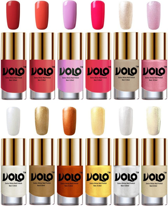 Volo Luxury Super Shine Nail Polish Set of 12 Vibrant Shades Pearly White Chrome, Golden, Coral Compass, Light Golden, Metallic Pink, Peach Crush, Metallic Silver, Passion Pink, Chrome Rust, Red Gold, Light Purple(Pack of 12)