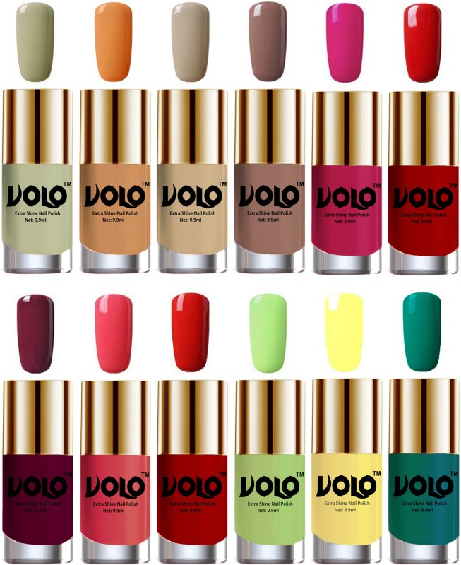 Volo Luxury Super Shine Nail Polish Set of 12 Vibrant Shades Light Wine, Mischievous Mint, Reddish Orange, Red, Dark Nude, Nude, Flirty Nude, Passion Pink, Yellow, Radium Green, Light Pink, Parrot Green(Pack of 12)