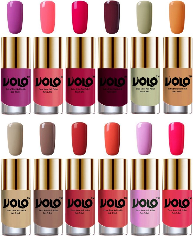 Volo Luxury Super Shine Nail Polish Set of 12 Vibrant Shades Mischievous Mint, Bright Plum, Coral Compass, Dark Nude, Nude, Flirty Nude, Moon Magenta, Peach Crush, Wine, Passion Pink, Pink Mania, Light Purple(Pack of 12)