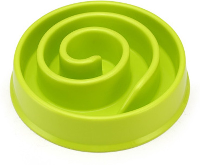 Sri Slow Feeder Bowl, Healthy Diet, Natural, Funny, Interactive Bloat Stop Dog Bowl, Eco-friendly Durable Non Toxic Fiber Slow Feed Dog Bowl (Green) Round Plastic Pet Bowl(250 ml Green)