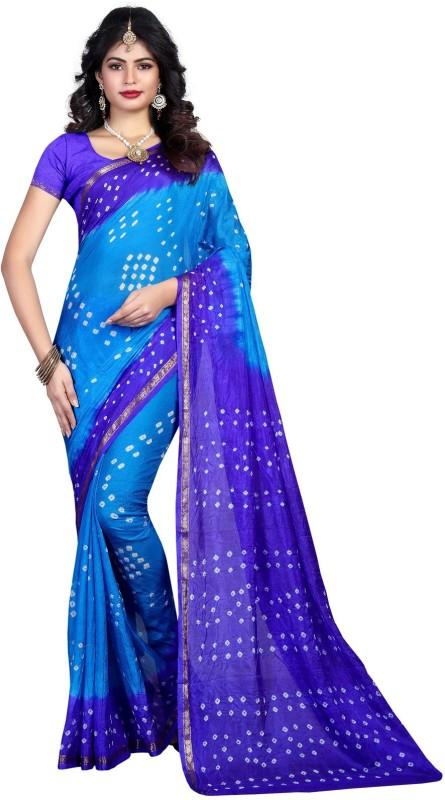 SNH Export Solid Bandhani Tussar Silk Saree(Blue)