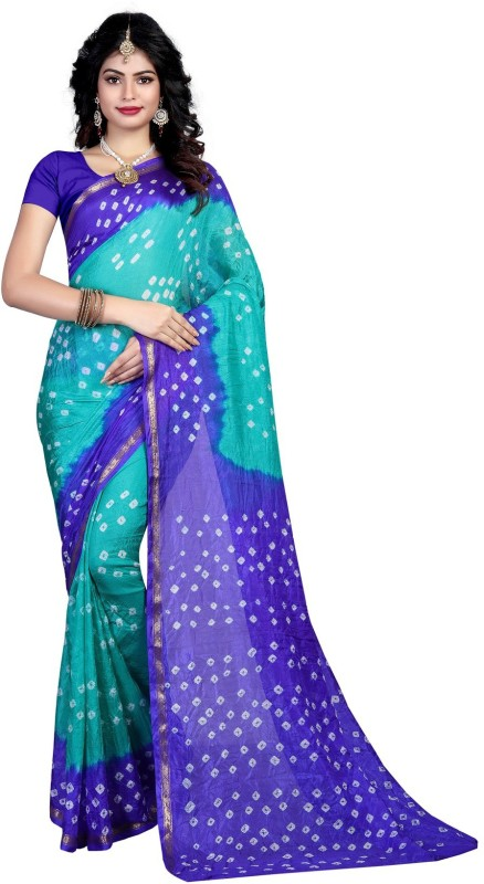 SNH Export Printed Bandhani Tussar Silk Saree(Blue)