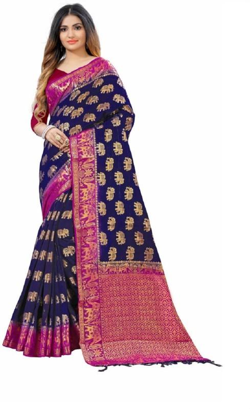 SNH Export Solid Bollywood Jacquard Saree(Dark Blue)
