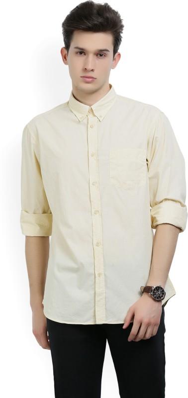Indian Terrain Men's Printed Casual Yellow Shirt