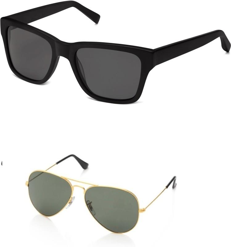 drd fashion Wayfarer, Aviator Sunglasses(Black, Black)