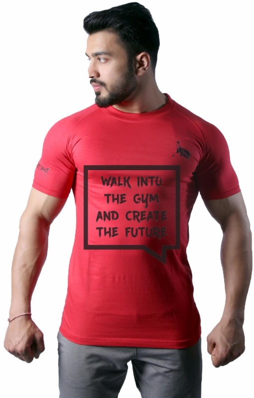 GreyWolf Fitness Printed Men & Women Round Neck Red T-Shirt
