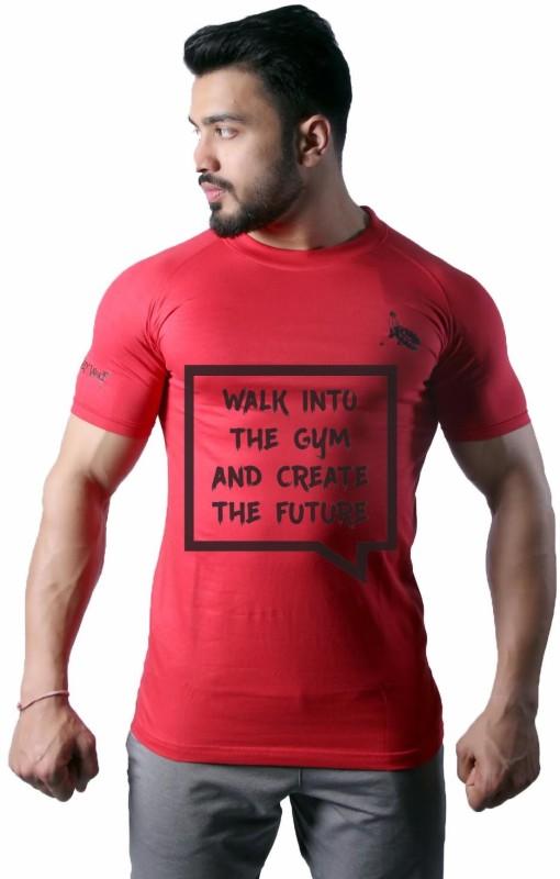 GreyWolf Fitness Printed Men & Women Round Neck Red T-Shirt