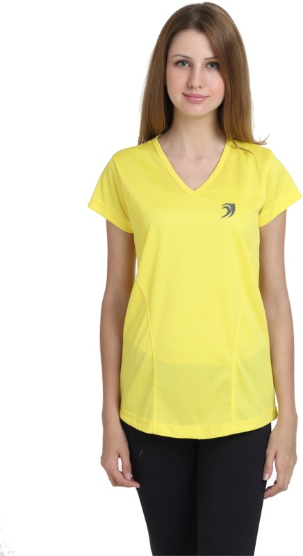 Delhi Daredevils Solid Women V-neck Yellow T-Shirt