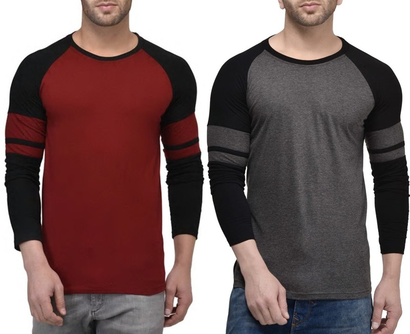 WRODSS Solid Men's Round Neck Multicolor T-Shirt(Pack of 2)