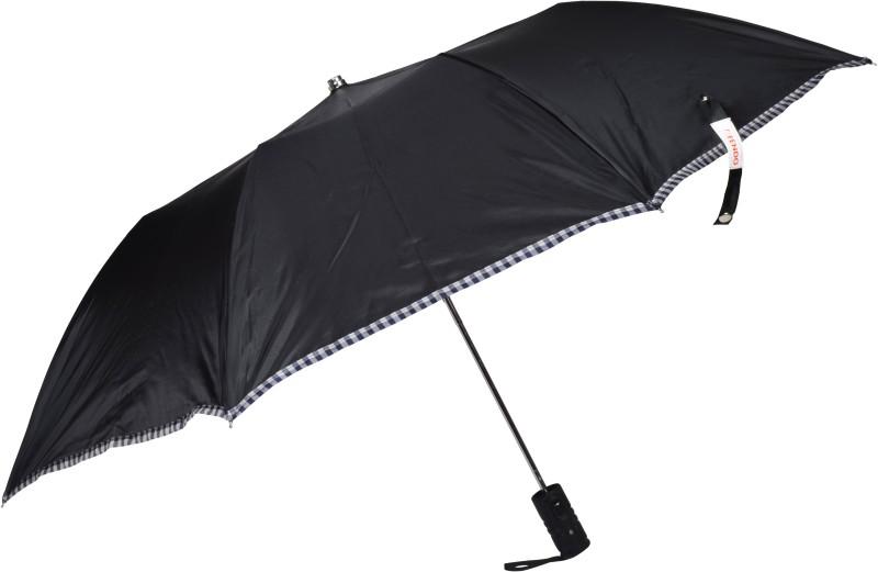 Fendo 2 Fold Black Silver Polyester Gents Umbrella(Black)