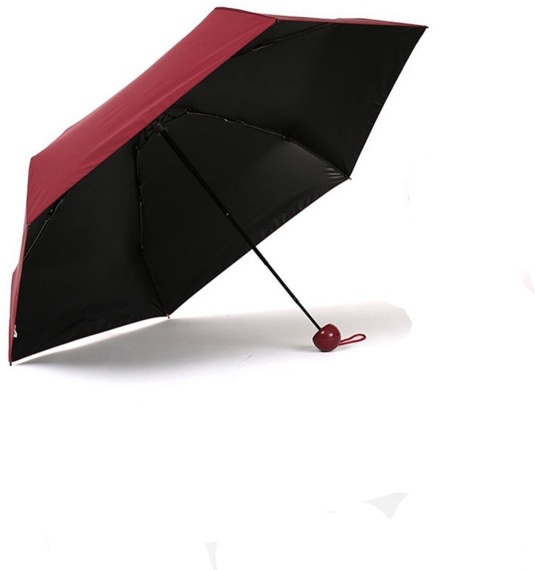 7763f746f ShopyBucket Mini Travel Umbrella 4 fold (UV PROOF WINDPROOF)- (Colour - Red  , Compact - 85 cm Diameter , Perfect for 1 Person ) (Red) Umbrella(Red)
