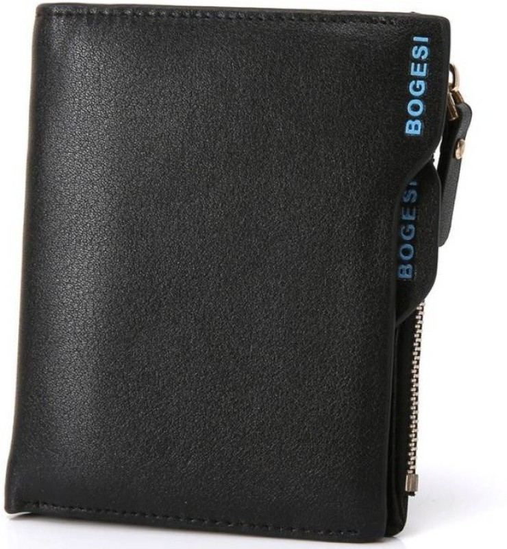 Bogesi Men Black Artificial Leather Wallet(7 Card Slots)