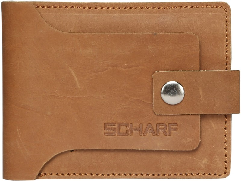 SCHARF Men Tan Genuine Leather Wallet(6 Card Slots)