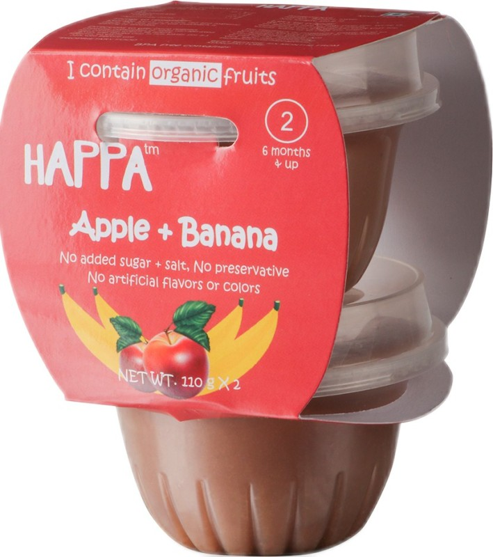 happa Organic Apple + Banana Puree, Baby food for 6 months+, Stage-2, 110 g Tub, 2 Count Cereal(220 g, Pack of 2)