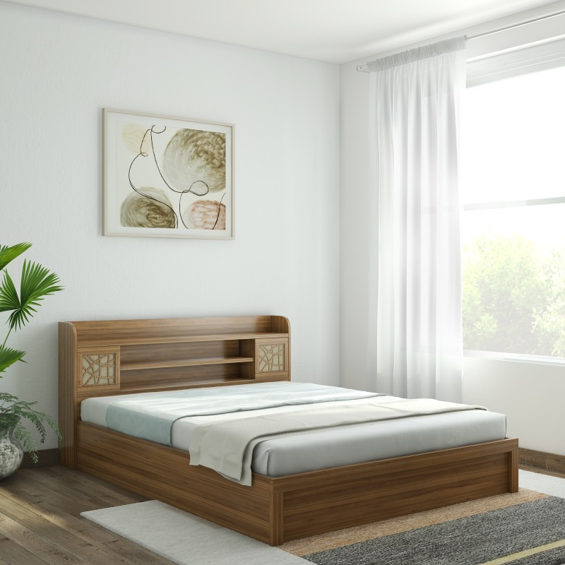 Spacewood Engineered Wood Queen Bed With Storage(Finish Color - Natural Teak)