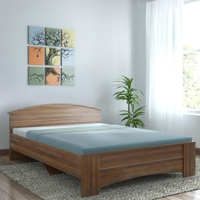 Spacewood Engineered Wood Queen Bed(Finish Color - Natural Teak)