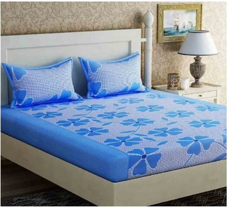 The Intellect Bazaar 160 TC Polyester Double Printed Bedsheet(1 double bedsheet with 2 pillow covers, Blue)