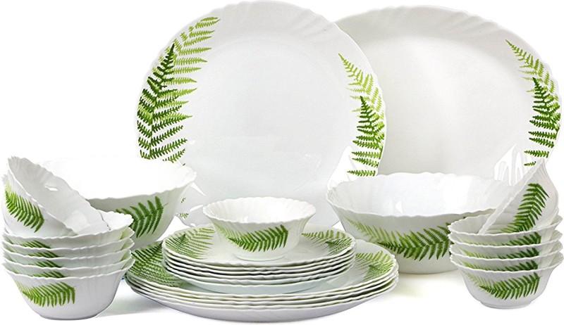 Cello present IMPERIAL Fresh Fern Dinner Set of 27 pcs {{Dinner plate 11(6 pcs) || Quarter plate (6 pcs) || Oval platter (1 Pcs) || Veg bowl (6 Pcs) || Soup Bowl (6 pcs) || Serving bowl medium (2 Pcs)}} Pack of 27 Dinner Set(Opalware)