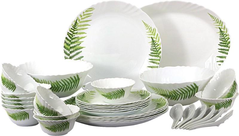 Cello present IMPERIAL Fresh Fern Dinner Set of 33 pcs {{Dinner plate 11(6 pcs) || Quarter plate (6 pcs) || Oval platter (1 Pcs) || Veg bowl (6 Pcs) || Soup Bowl (6 pcs) || Spoon (6 pcs) || Serving bowl medium (2 Pcs)}} Pack of 33 Dinner Set(Opalware)