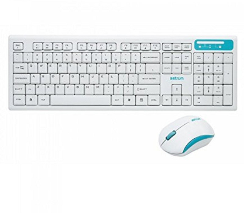 Astrum KW250 Smart 2.4Ghz Wireless Keyboard And Mouse Combo, White Color Desktop Keyboard Replacement Key