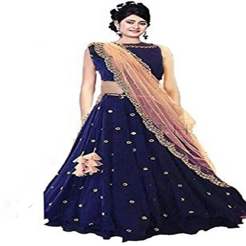 F Plus Fashion Embroidered Semi Stitched Lehenga, Choli and Dupatta Set(Multicolor)