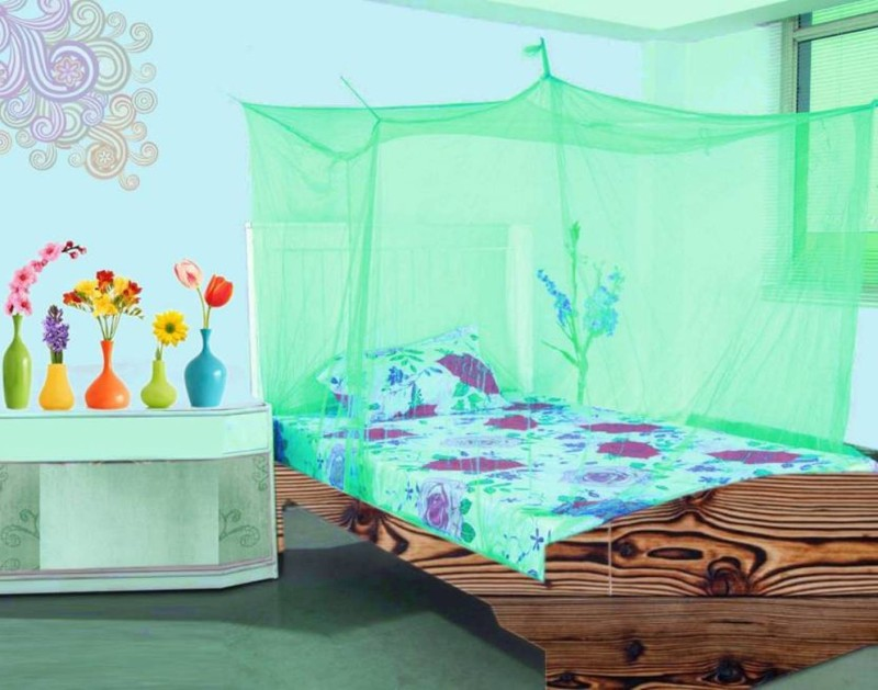 Shreejee Nylon Adults single Bed Green color Mosquito Net 3x6 feet 1 Mosquito Coil