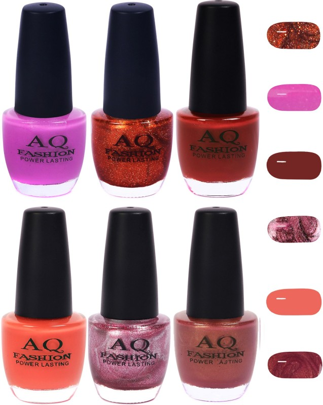 AQ Fashion Funky Vibrant Range of Colors Nail polish Violet Purple,Copper,Maroon,Peach,Purple,Shimmer Nude(Pack of 6)