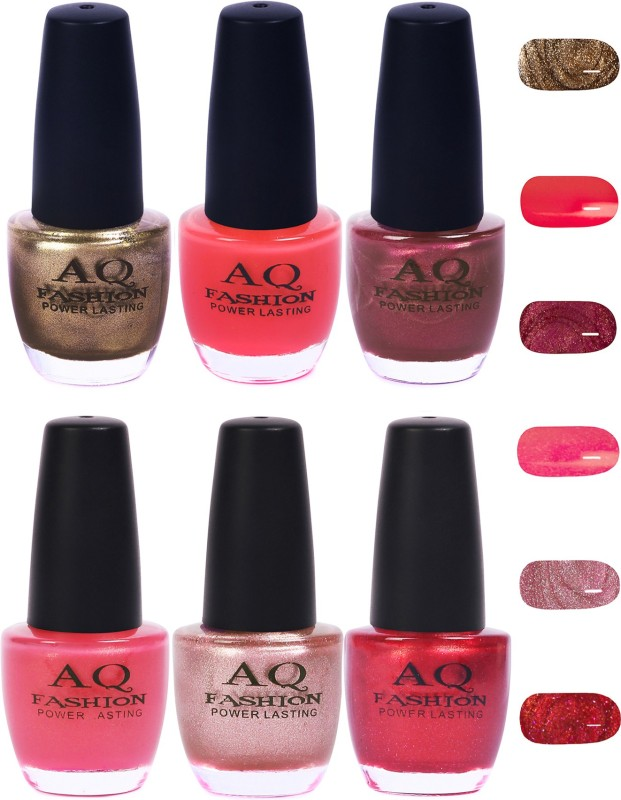 AQ Fashion Funky Vibrant Range of Colors Nail polish Deep Golden,Pink,Purple,Sheer Pink,Pearl Pink,Shimmer Red(Pack of 6)