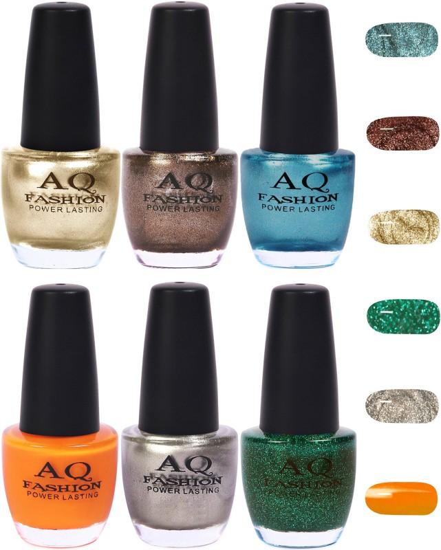 AQ Fashion Funky Vibrant Range of Colors Nail polish Lemon,Dark Grey,Firozy Blue,Turmeric,Silver,Grass Green(Pack of 6)