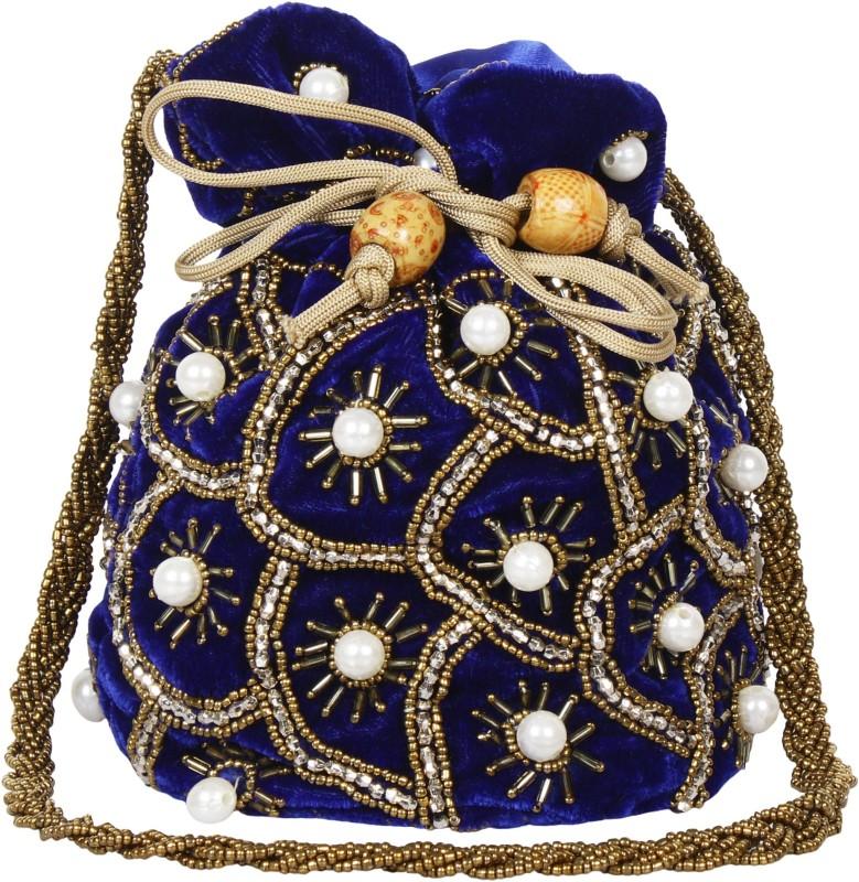 Saashiwear Potli Purse Potli(White, Blue)