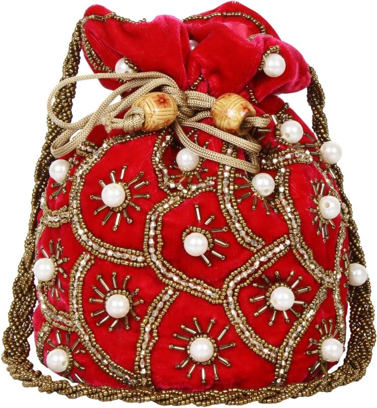 Saashiwear Potli Purse Potli(Red, White)