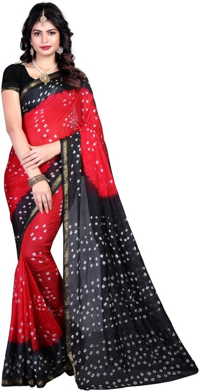 SNH Export Printed Bandhani Tussar Silk Saree(Red, Black)